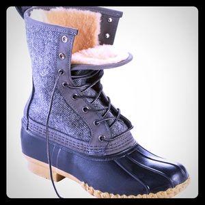 "LL BEAN Duck Boots 10"" Shearling-Lined Herringbone"